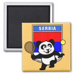Square Magnet with Serbia Tennis Panda design