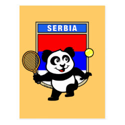 Postcard with Serbia Tennis Panda design