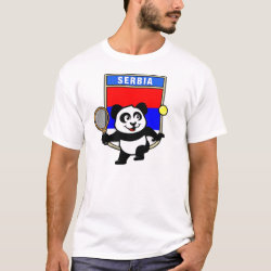 Men's Basic T-Shirt with Serbia Tennis Panda design