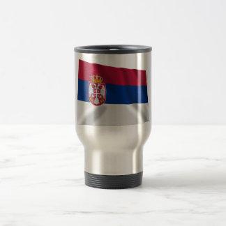 Serbia Waving Flag 15 Oz Stainless Steel Travel Mug