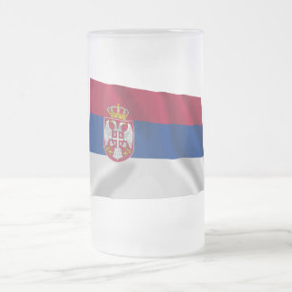 Serbia Waving Flag 16 Oz Frosted Glass Beer Mug
