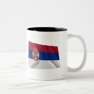 Serbia Waving Flag Two-Tone Coffee Mug