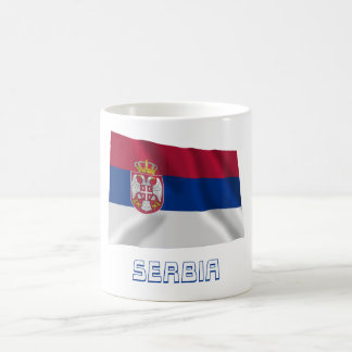 Serbia Waving Flag with Name Classic White Coffee Mug