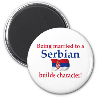 Serbian Builds Character 2 Inch Round Magnet