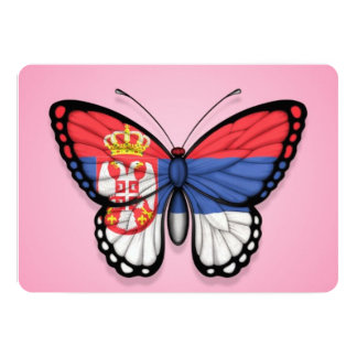"""Serbian Butterfly Flag on Pink 5"""" X 7"""" Invitation Card"""