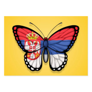 Serbian Butterfly Flag on Yellow Large Business Cards (Pack Of 100)