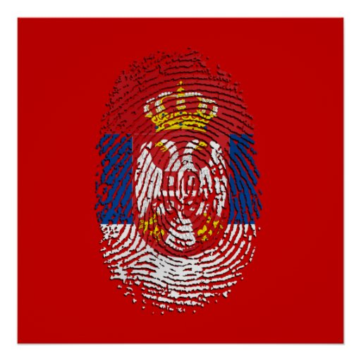 Serbian fingerprint dna serbia pride gifts poster zazzle for Personalized dna art