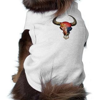 Serbian Flag Bull Skull Dog T-shirt