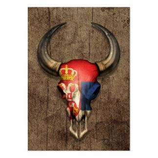 Serbian Flag Bull Skull on Wood Effect Large Business Cards (Pack Of 100)