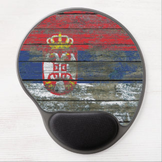 Serbian Flag on Rough Wood Boards Effect Gel Mouse Pad