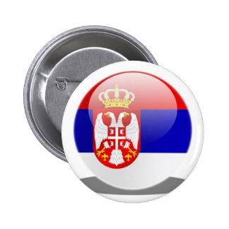 Serbian Flag Pinback Button
