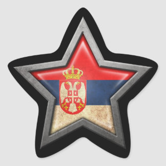 Serbian Flag Star on Black Star Sticker