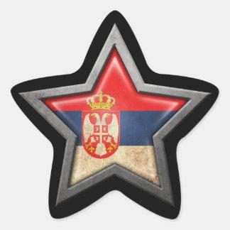 Serbian Flag Star on Black Star Sticker