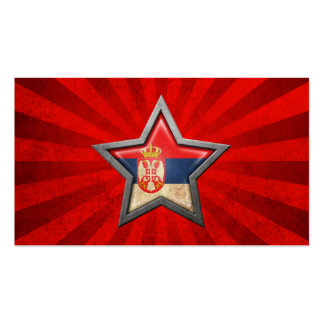 Serbian Flag Star with Rays of Light Double-Sided Standard Business Cards (Pack Of 100)