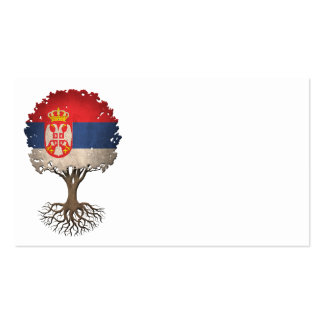 Serbian Flag Tree of Life Customizable Double-Sided Standard Business Cards (Pack Of 100)