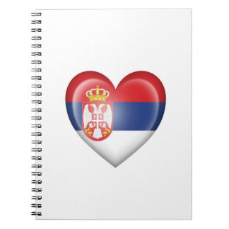 Serbian Heart Flag on White Spiral Note Book
