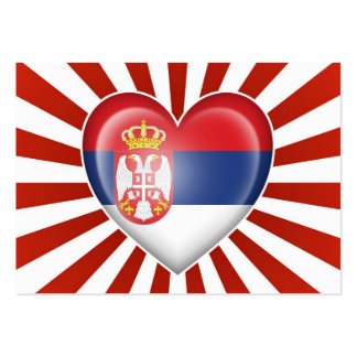 Serbian Heart Flag with Star Burst Large Business Cards (Pack Of 100)