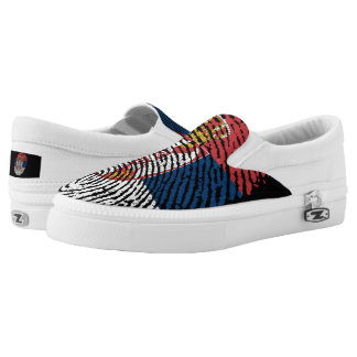 Serbian touch fingerprint flag Slip-On sneakers