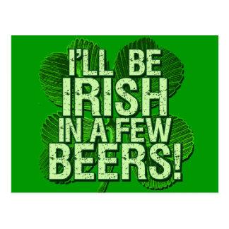 Seré irlandés en pocas cervezas postal