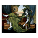 Serena Eclectic Sunset Cat Fairy Poster