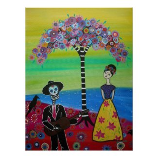 Serenading Frida Day of the Dead Poster print