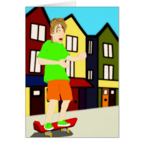 Serenading Skateboarding Dude Card