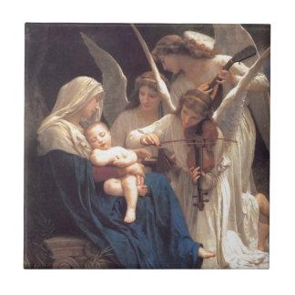 Serenata de ángeles azulejo cuadrado pequeño
