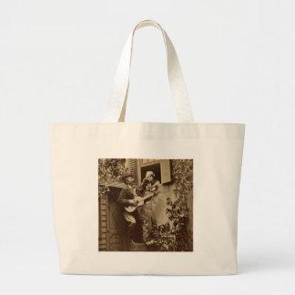 Serenata de medianoche del trovador - vintage 1881 bolsa de tela grande
