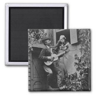 Serenata de medianoche del trovador - vintage 1881 imán cuadrado