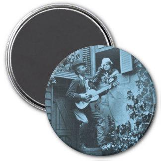 Serenata de medianoche del trovador - vintage 1881 imán redondo 7 cm