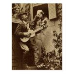 Serenata de medianoche del trovador - vintage 1881 postal