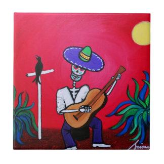 Serenata Dia de Los Muertos Tiles por los prisarts Azulejo Cuadrado Pequeño
