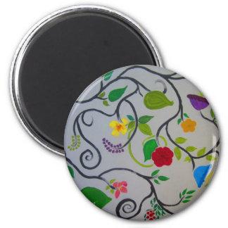 serendipity floral design 2 inch round magnet