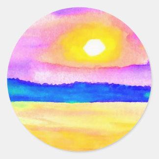 Serendipity Ocean Lake Sunset Art Round Sticker