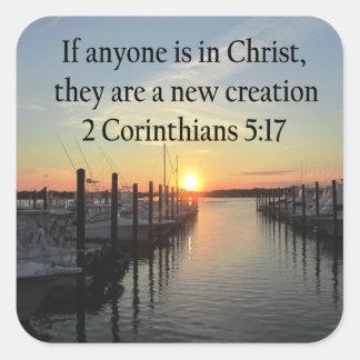 SERENE 2 CORINTHIAN 5:17 SUNSET PHOTO SQUARE STICKER