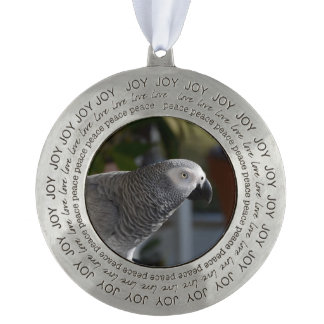 Serene African Grey Parrot Pewter Ornament