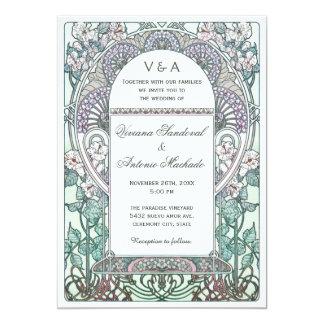 Serene Art Nouveau Wedding Invitations