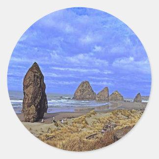Serene Beach Classic Round Sticker