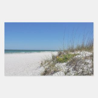 Serene Beach Sea Oats 2 Florida Beach Scene Rectangular Sticker