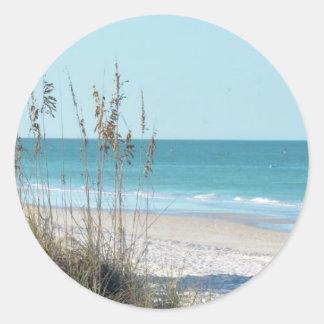 Serene Beach Sea Oats & Blue Water Classic Round Sticker