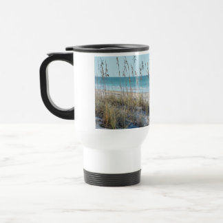 Serene Beach Sea Oats & Blue Water Travel Mug