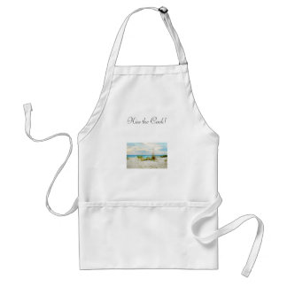 Serene Boat on Beach with Sea Oats Adult Apron