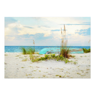 Serene Boat on Beach with Sea Oats Card