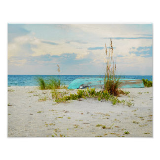 Serene Boat on Beach with Sea Oats Poster