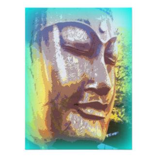serene buddha face green photographic print