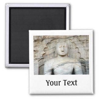 Serene Buddha Image 2 Inch Square Magnet