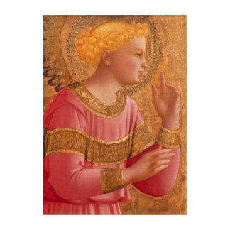 Serene Christian Angel Figure in Pink gold Dress Acrylic Print