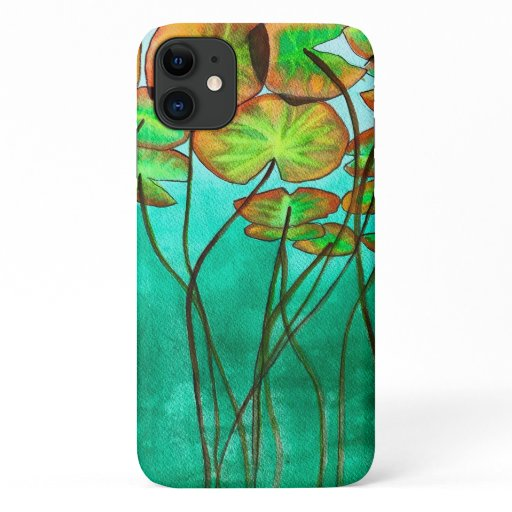 serene green pond with lilypads iPhone 11 case