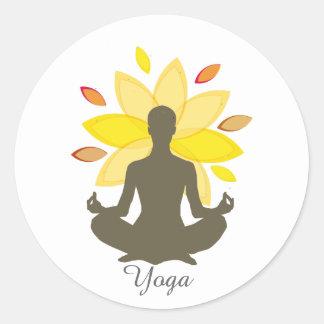 Serene Holistic Meditation Yoga Lotus Pose Classic Round Sticker