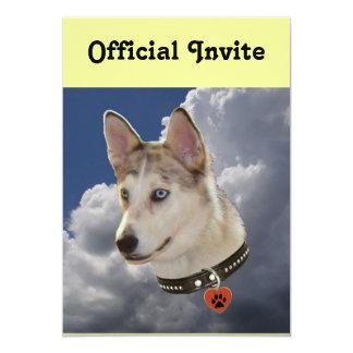 Serene Husky Dog in Fluffy White Clouds Card